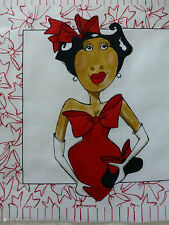 Lady in Red Fabric Cotton Craft Panel Quilting Humour
