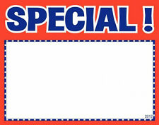 "100 SPECIAL 3.5"" x 5.5"" Classic Red Blue Accents Retail Value Sale Signs Cards"