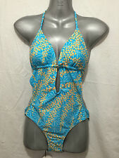 BNWT Ladies Sz 14 Mambo Brand Aqua/Orange Padded Cup One Piece Bathers Swim Suit