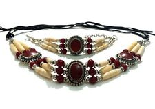Native American Style Buffalo Bone Hairpipe Choker Necklace And Bracelet Set