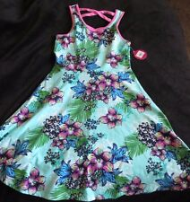 NWT Girls SO Racer Back Knit Skater Dress Aqua Blue Floral Print Girl's Size 12