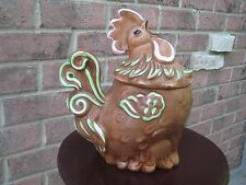 CROWING ROOSTER COCK CHICKEN COOKIE JAR CANISTER CERAMIC COUNTRY FARM