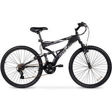 "Men's Mountain Bike Black Aluminum Frame Bicycle Shimano 26"" Full Suspension"
