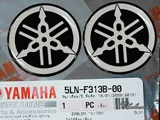 2 X YAMAHA GENUINE 40mm TUNING FORK LOGO BLACK SLVER STICKER EMBLEM DECAL