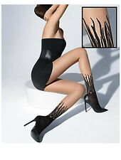 WOLFORD FLAME Tights Pantyhose in Black/Black SZ: M  Ret: $65 New/Packaged