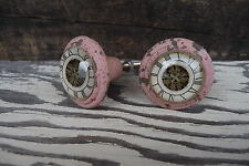 Shabby Chic Cast Iron Distressed Pink w/ Glass Clock Pattern Knob - Drawer Pull