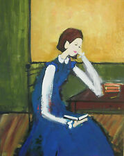 Schoolgirl In A Classroom Holding A Book Original Oil Painting Vintage Stylized
