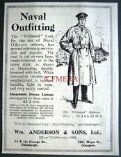 1917 Wm Anderson Naval Officer's WILLMAND Shore Coat ADVERT - Small WW1 Print Ad
