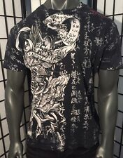 AFFLICTION LARGE SHIRT,JAPANESE SCROLL,IREZUMI,TATTOO,SAMURAI,HORIYOSHI