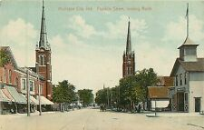 Indiana, IN, Michigan City, Franklin Street Looking North Early Postcard