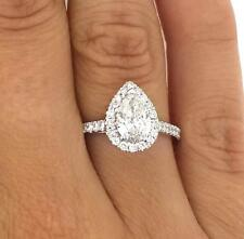 1.78 Ct Pear Shape Vs2 Diamond Halo Solitaire Engagement Ring 18K White Gold