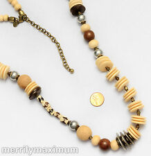 Chico's Signed Necklace Long Gold Tone Chunky Wood Silver & Ivory Color Beads