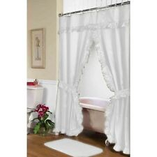 Carnation Home Fashions Lauren Double Swag Shower Curtain, White Fscd-L/21 New