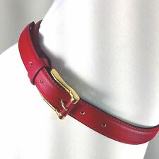 "Italian Leather Womens Red BELT 1 Inch Thick 32-36"" Vera Pelle  Gold Buckle EUC"