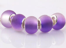 5pcs SILVER MURANO purple jelly spacer beads fit European Charm Bracelet A#938