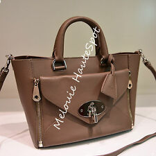 MULBERRY BROWN GRAY TAUPE NICKEL HW SILKY CLASSIC CALF SMALL WILLOW TOTE BAG