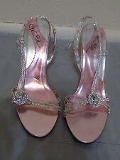 Embellished Wild Rose Women's silver and pink shoes size 10M Braided straps