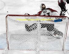 PATRICK ROY Big SAVE from BEHIND NET 8x10 Photo COLORADO AVALANCHE HOF GOALIE~@@