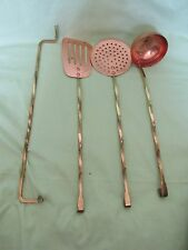 Vintage Hanging Copper/Brass Cooking Utensils Set Spatula Ladle Spoon Strainer