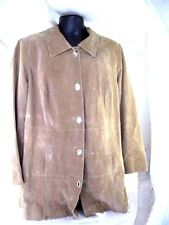 Dennis Basso womens Suede Leather Brown Leopard lined Coat jacket XXL 2XL 2X