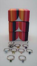 Lot of 9 Sterling Silver Solitaire Evine Gemstone Stackable Rings Sz 6 NEW