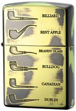 New Zippo for Pipe 200PL Shape Pipe Brass Gold Double Side Designed 1201S555