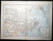 1890 ANTIQUE PRINT COLOUR MAP of CHINE (CORÉE) China (Korea) FRENCH Carte