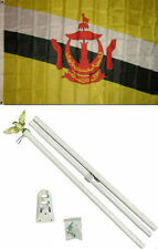 3x5 Brunei Flag White Pole Kit Set 3'x5'