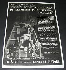 Print Ad 1943 Chevrolet WW ll Wartime Aluminum Forging for Airplanes hammer men