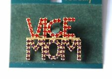 """Red Hat Vice """"Mom"""" Pin / Red & Purple Crystals in Gold-tone Set / Vice-Queen"""