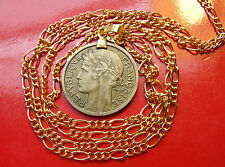 "Antique ""Art Nouveau"" French  Bronze Franc Pendant on a 22"" Gold Filled Chain"