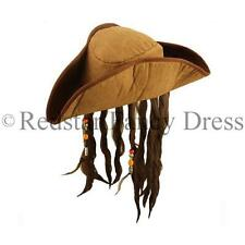 PIRATE HAT WITH HAIR AND BEADS FANCY DRESS HAT JACK SPARROW STAG NIGHT COSTUME