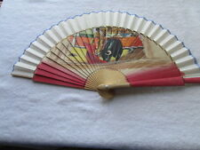 "Vintage Wooden Hand Painted Fan Bull Fighter 14"" Open x 7 3/4"" Tall Spain  F-9"