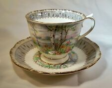 ROYAL ALBERT BONE CHINA ENGLAND SILVER BIRCH FOOTED CUP & SAUCER SET!