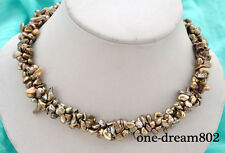 "3strands 17"" 8mm baroque brown reborn keshi pearl necklace"
