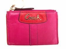 BRAND NEW WITH TAGS COACH HOT PINK/RED GENUINE HIDE LEATHER KEYRING PURSE