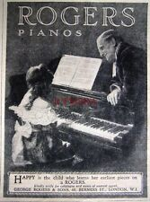 1927 'ROGERS' Pianos ADVERT - Original Small Print Ad