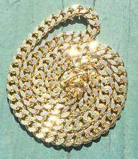 Miami Cuban Link Gold Chain Necklace With Stripe Diamond Cuts
