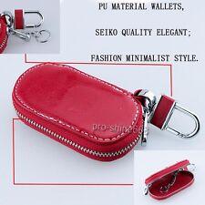 RED Zipper Genuine PU Leather Car Key Bag Case Holder Cover fit Audi BMW BENZ