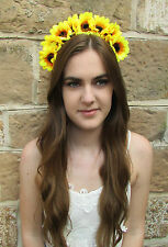 Large Sunflower Flower Hair Crown Yellow Vintage Boho Headband Festival V39
