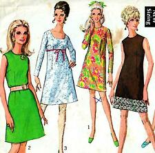 """Vintage 60s Mod A-LINE DRESS Sewing Pattern Bust 34"""" Size 10 Party RETRO Evening"""