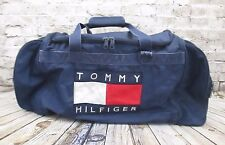 Vtg. 90's TOMMY HILFIGER Vintage Navy Blue Flag Logo  Duffle Gym Bag Large