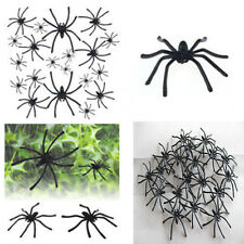 Lots 20pcs Halloween Plastic Black Spider Joking Toys Decoration Realistic Prop