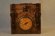 Old World Map Faux Leather Small Vintage Suitcase Clock Office Home Decor Mantel