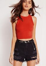 Missguided Womens Jersey Racer Crop Top Size 10/38 BNWT Red Uk Freepost