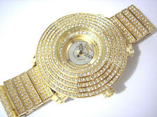 Iced Out Bling Bling Big Case Hip Hop Techno King Men's Watch Gold Item 2979