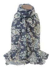 Ladies Women Gold Rose Flower Outline BLUE 100% Cotton Scarf Wrap Shawl Pashmina