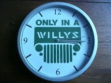 ONLY IN A JEEP pendule murale horloge 20cms WILLYS FORD MB GPW M201 HOTCHKISS US