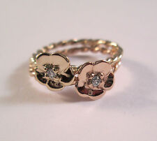 14 Kt Solid Yellow and  Rose Gold Flower Ring  With Diamons Size 5