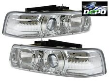 00-06 Cheverolet Chevy Suburban Tahoe Chrome Projector Headlights PAIR DEPO